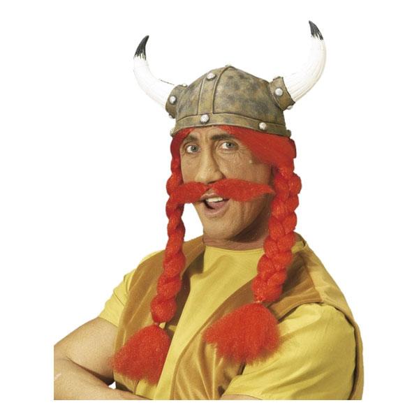 Gaulix Hjälm med Hår och Mustasch - One size