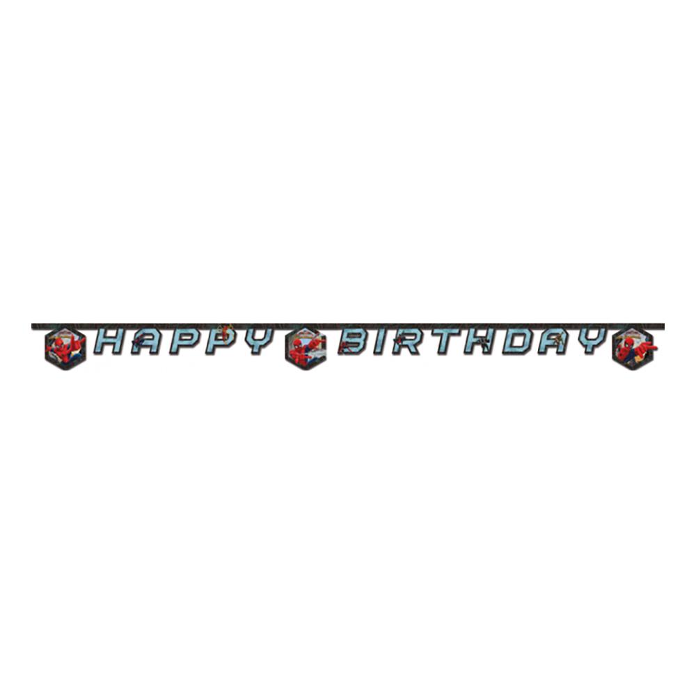 Girlang Happy Birthday Spiderman Blå/Svart