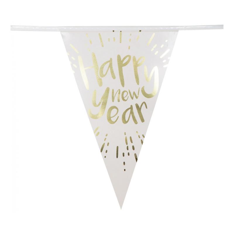 Girlang Happy New Year Guldmetallic