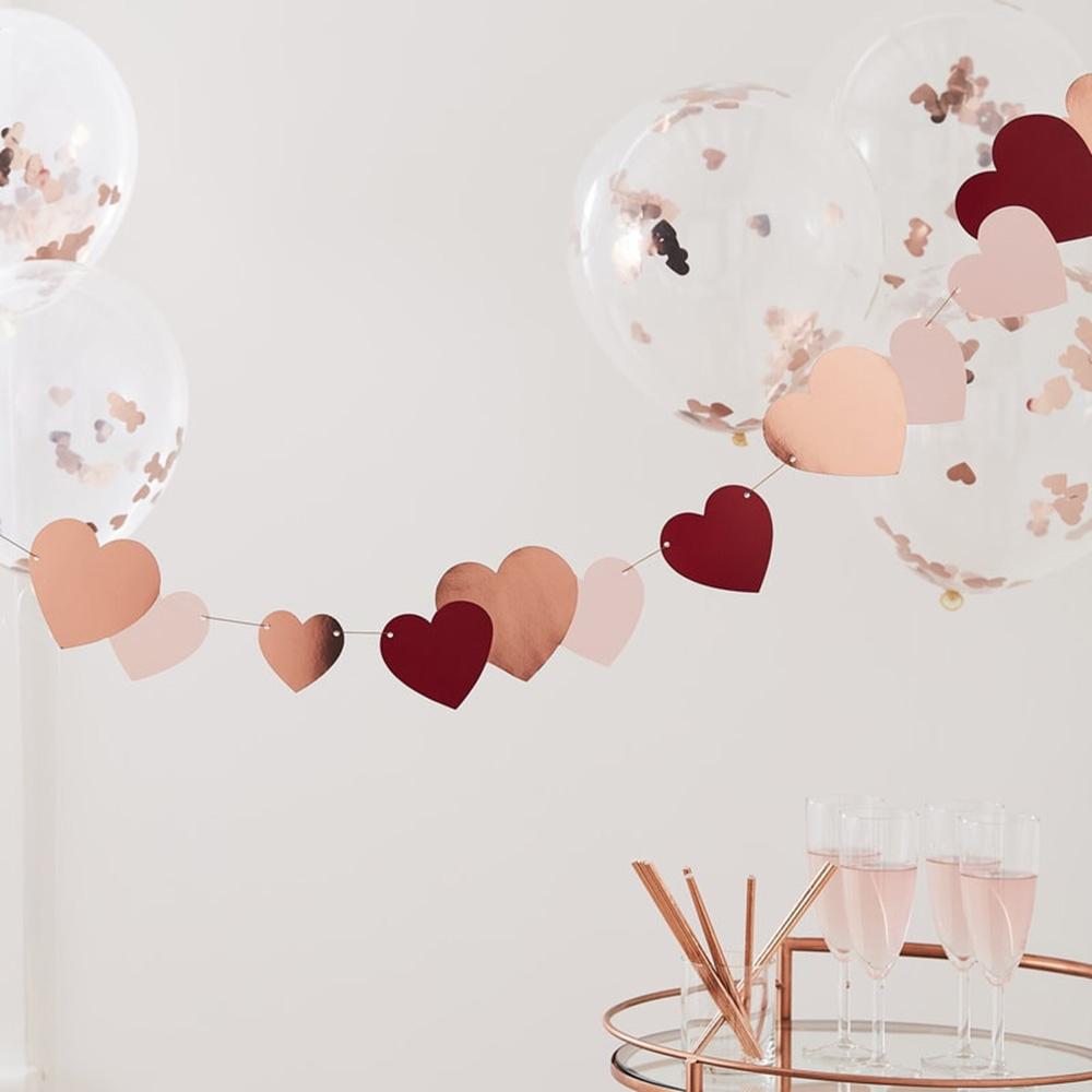Girlang med Hjärtan Roséguld/Rosa/Röd
