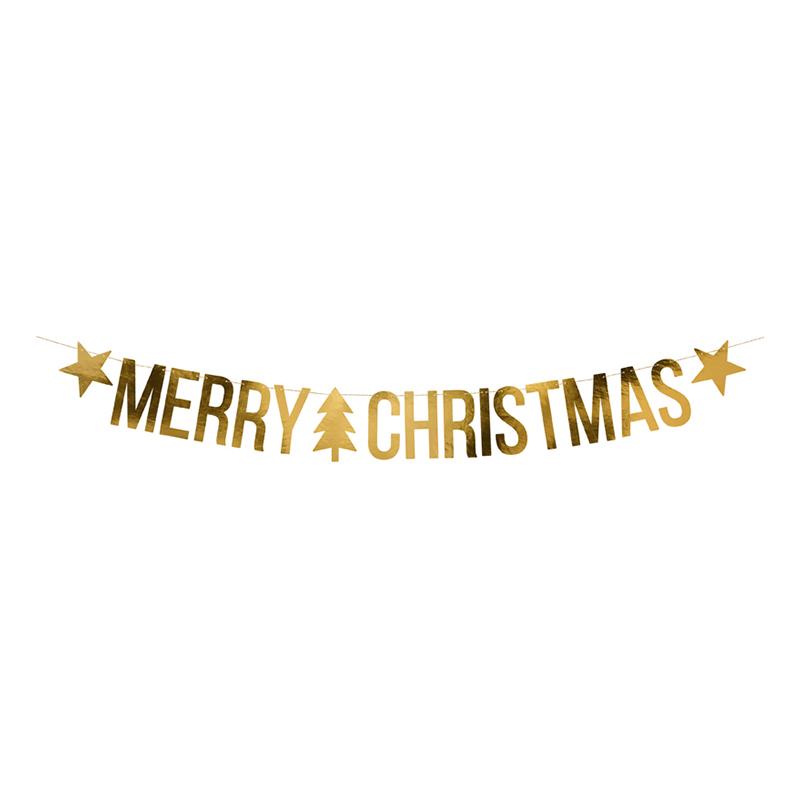 Girlang Merry Christmas DIY Guld Metallic