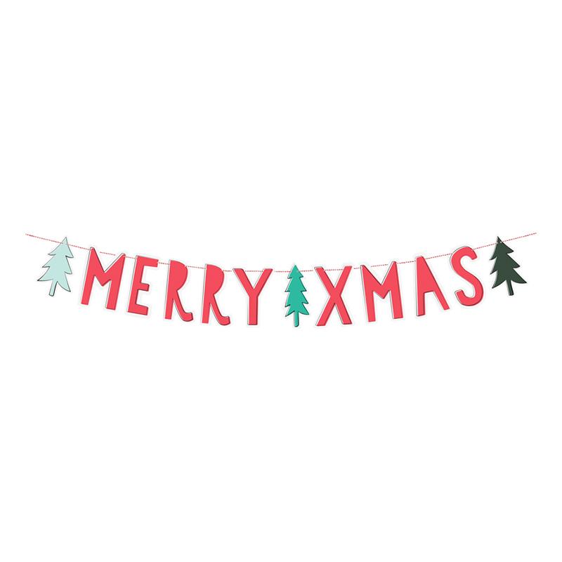 Girlang Merry Xmas DIY Röd