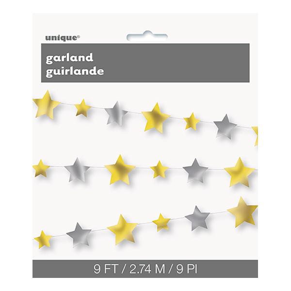 Girlang Stjärnor Guld/Silver Metallic