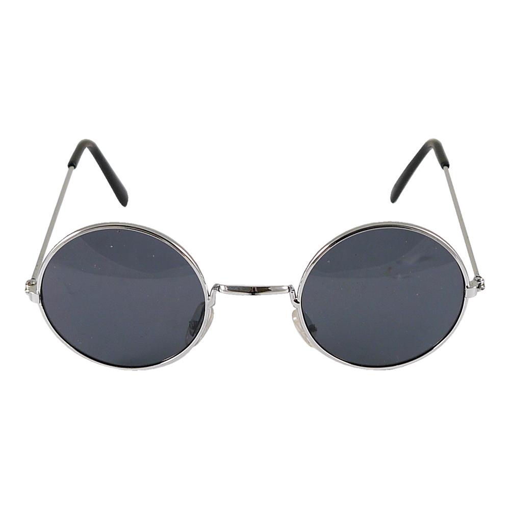 Glasögon Runda Svarta med Silver Bågar