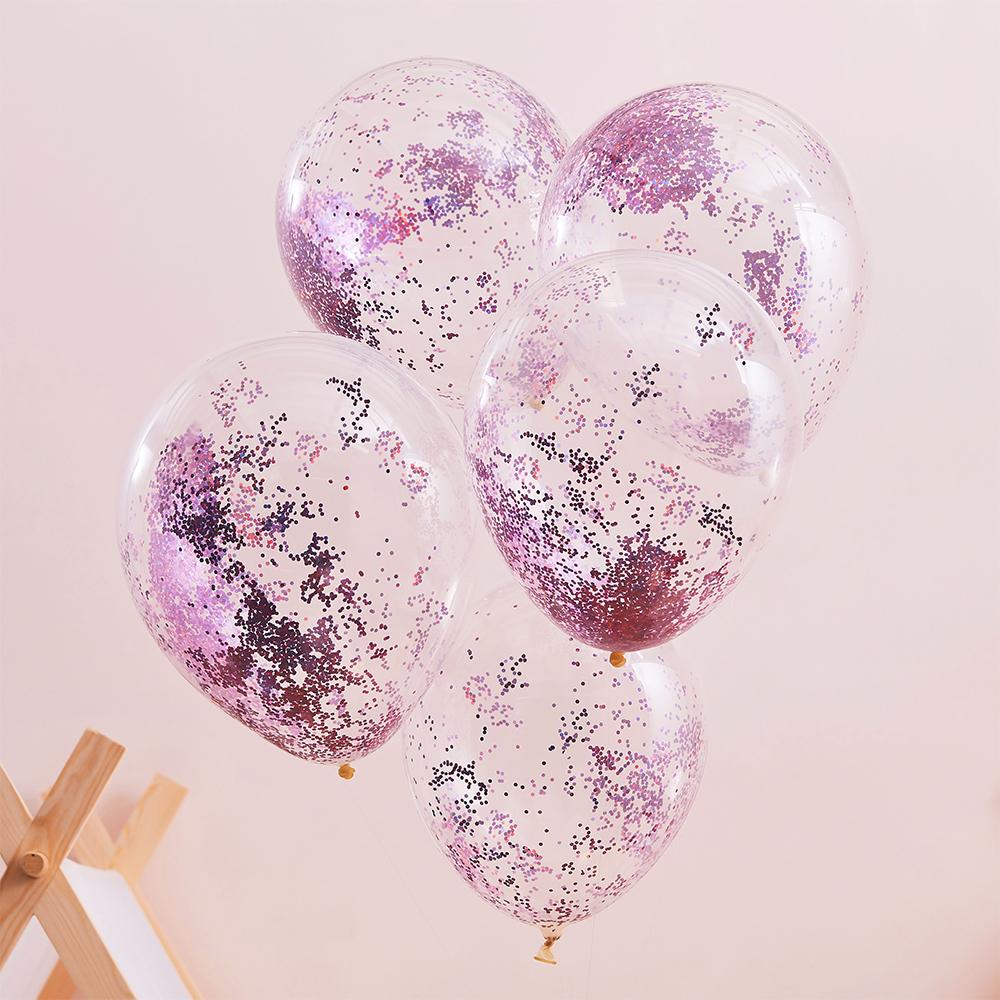 Glitterballonger Rosa/Transparent - 5-pack