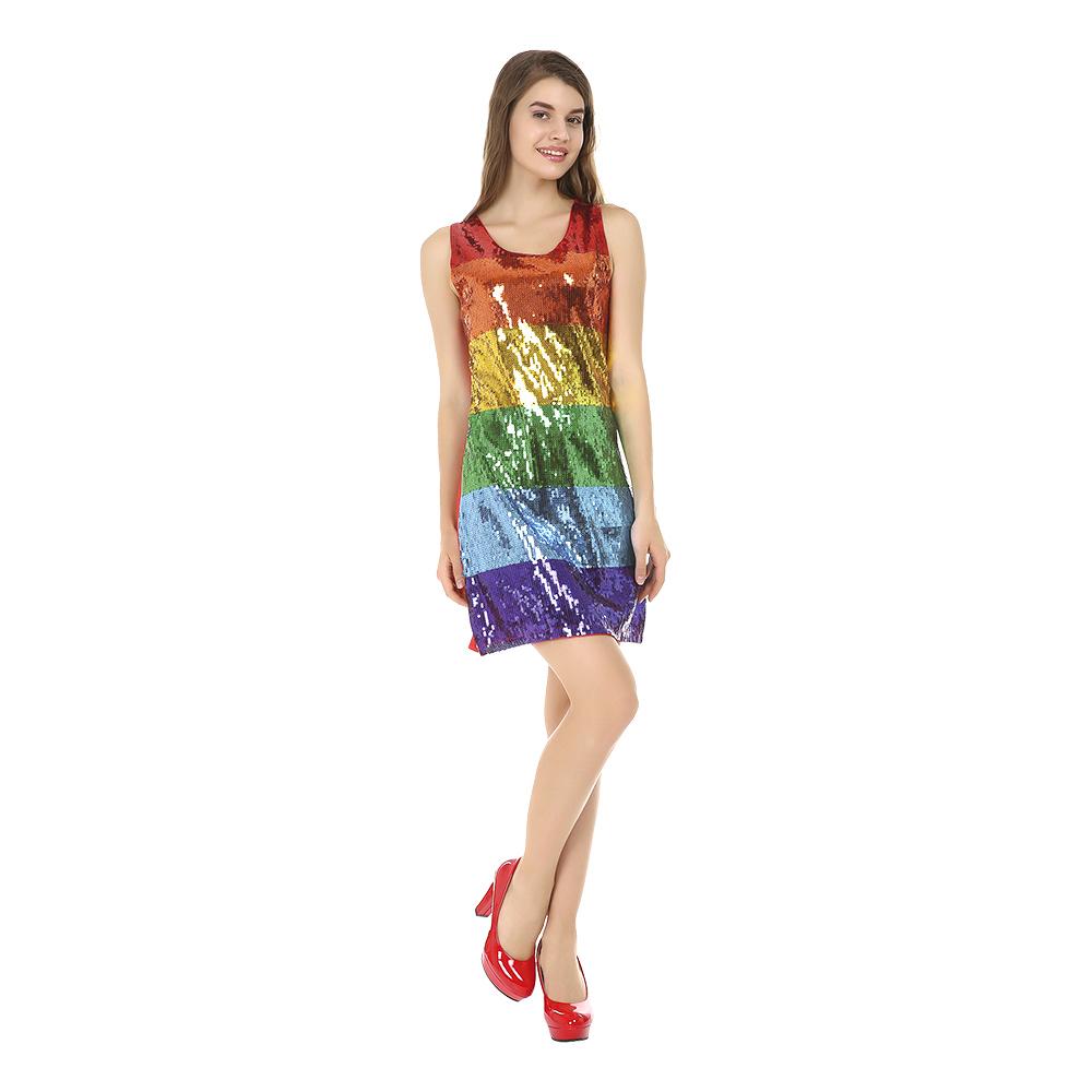 Glitterklänning Regnbågsfärgad Maskeraddräkt - Small