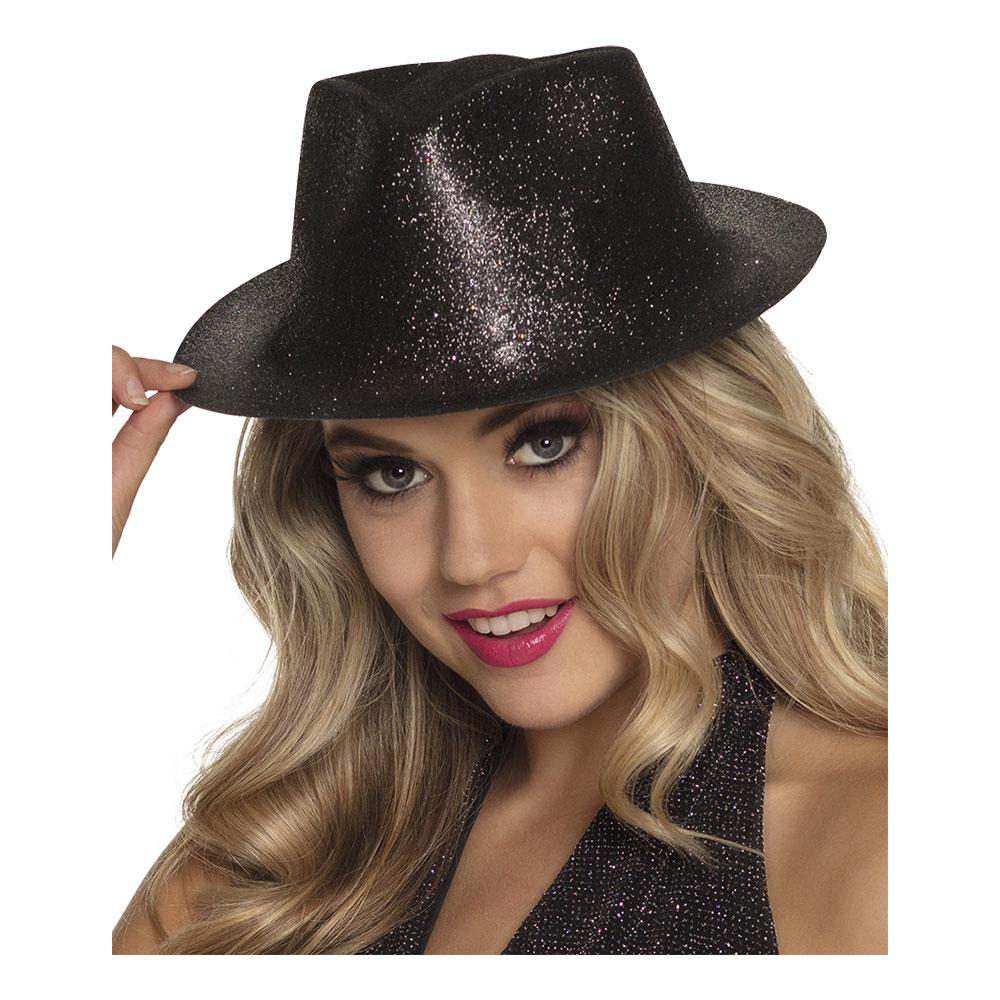 Gnistrande Svart Hatt - One size