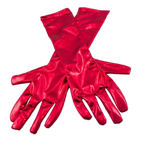 Långa Handskar Metallicröd - One size