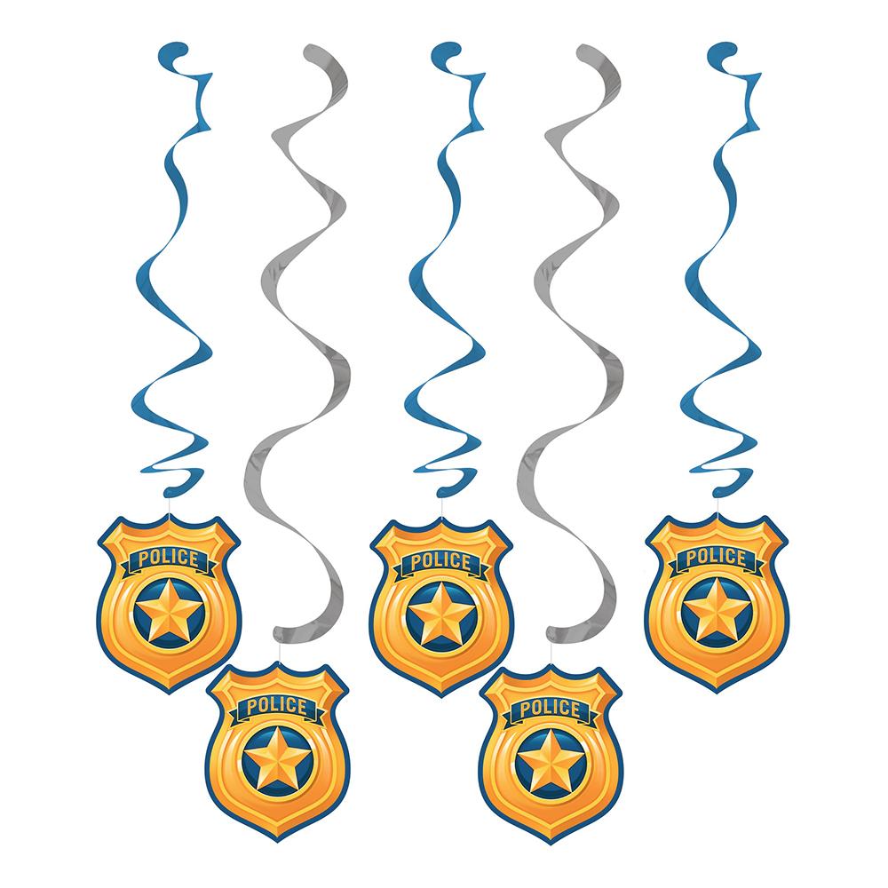 Hängande Dekorationer Polis Party - 5-pack