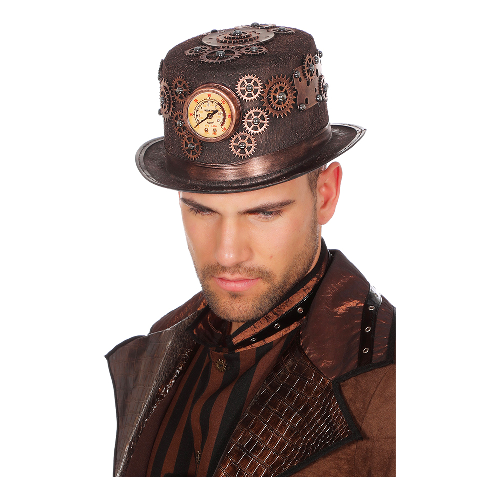 Hatt Steampunk med Mätare Brons Deluxe - One size