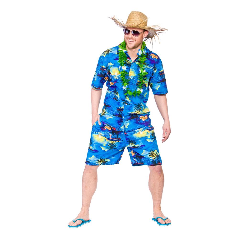 Hawaii Partykille Mörkblå Maskeraddräkt - Large