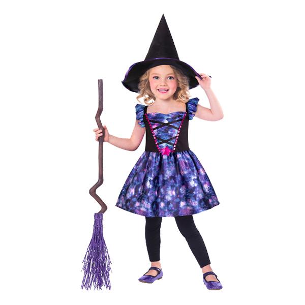 Häxklänning Lila Barn Maskeraddräkt - X-Small 3-4 år
