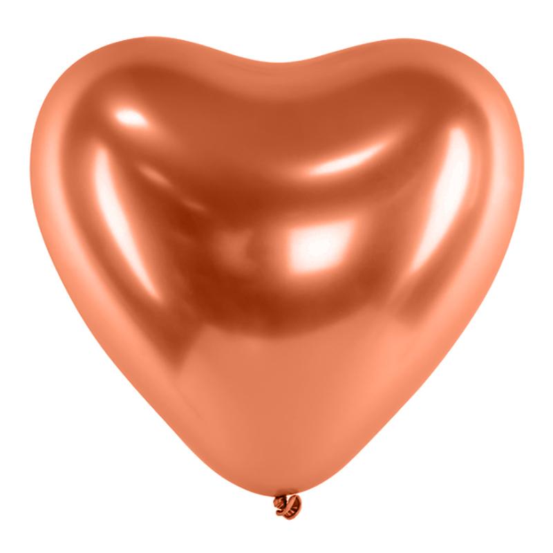 Hjärtballonger Krom Koppar - 10-pack