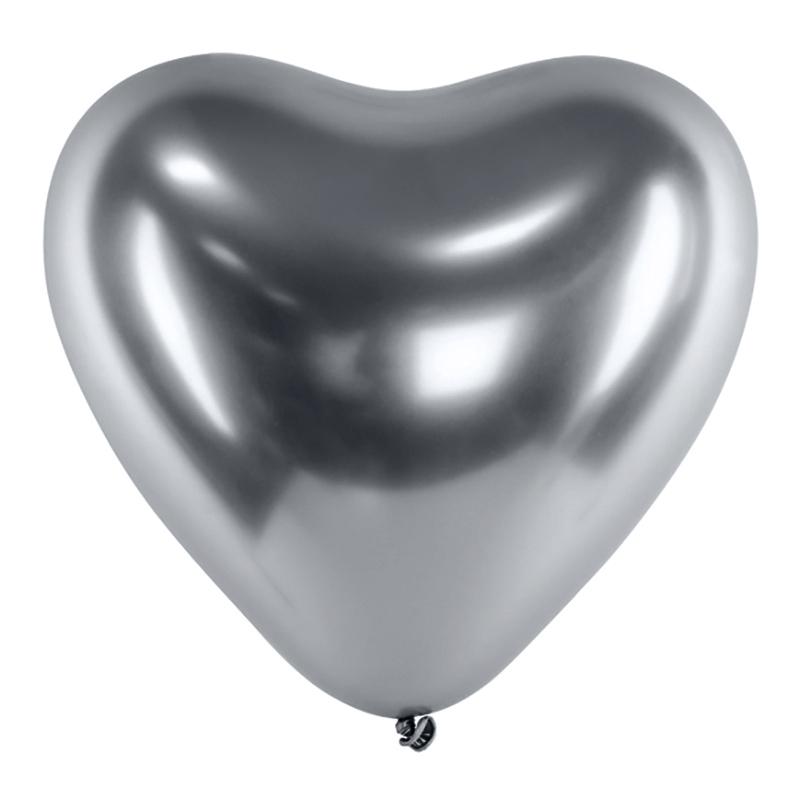 Hjärtballonger Krom Silver - 25-pack