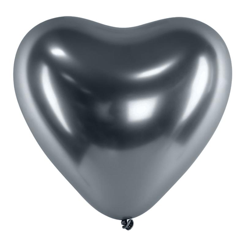 Hjärtballonger Krom Space Grey - 100-pack