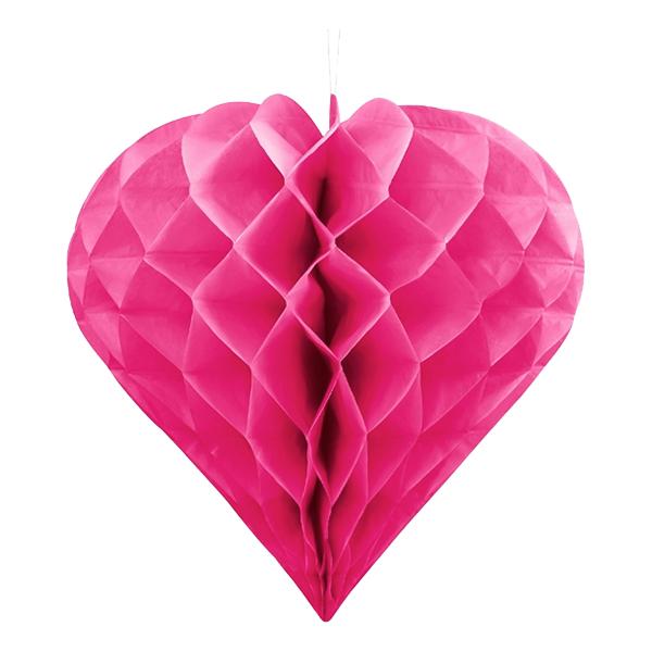 Honeycomb Hjärta Rosa Hängande