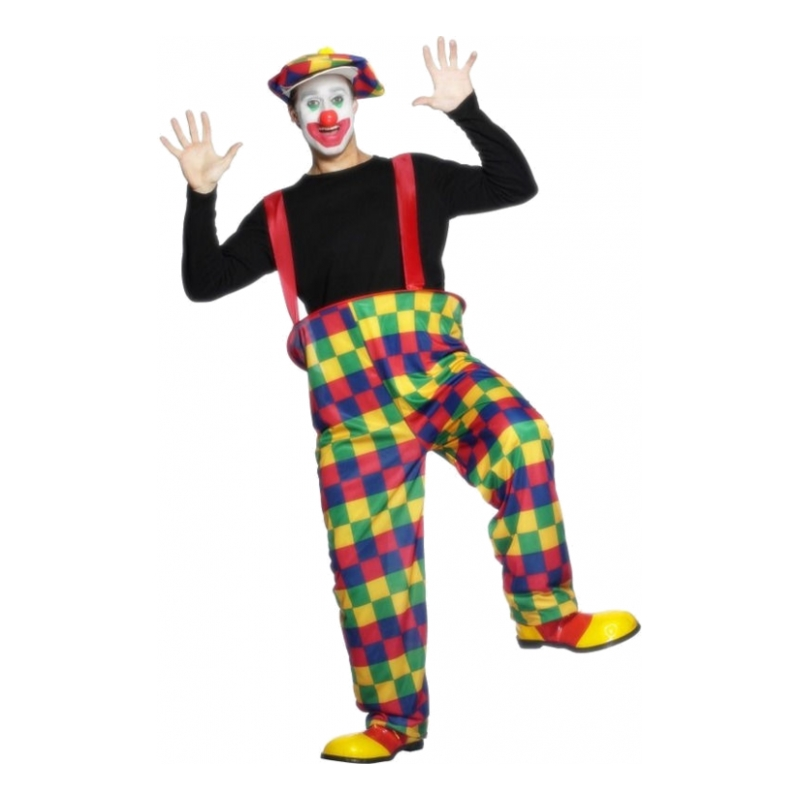 Clown med Hängselbyxor Maskeraddräkt - Medium