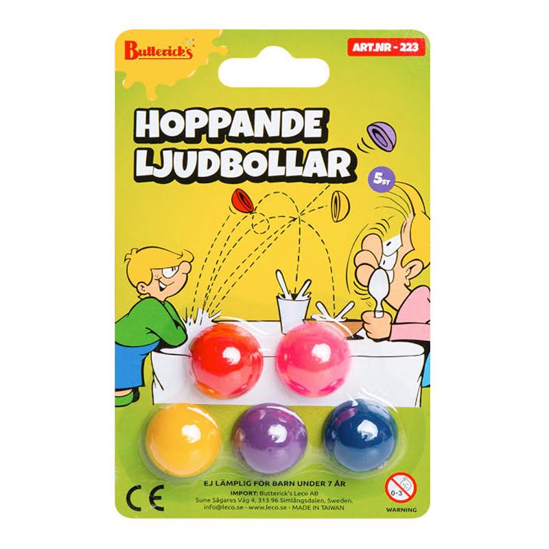 Hoppande Ljudbollar Skämtartikel - 5-pack