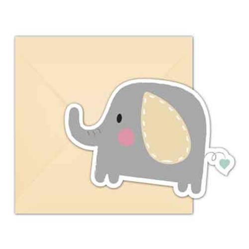 Inbjudningskort Babyshower Elefant - 6-pack