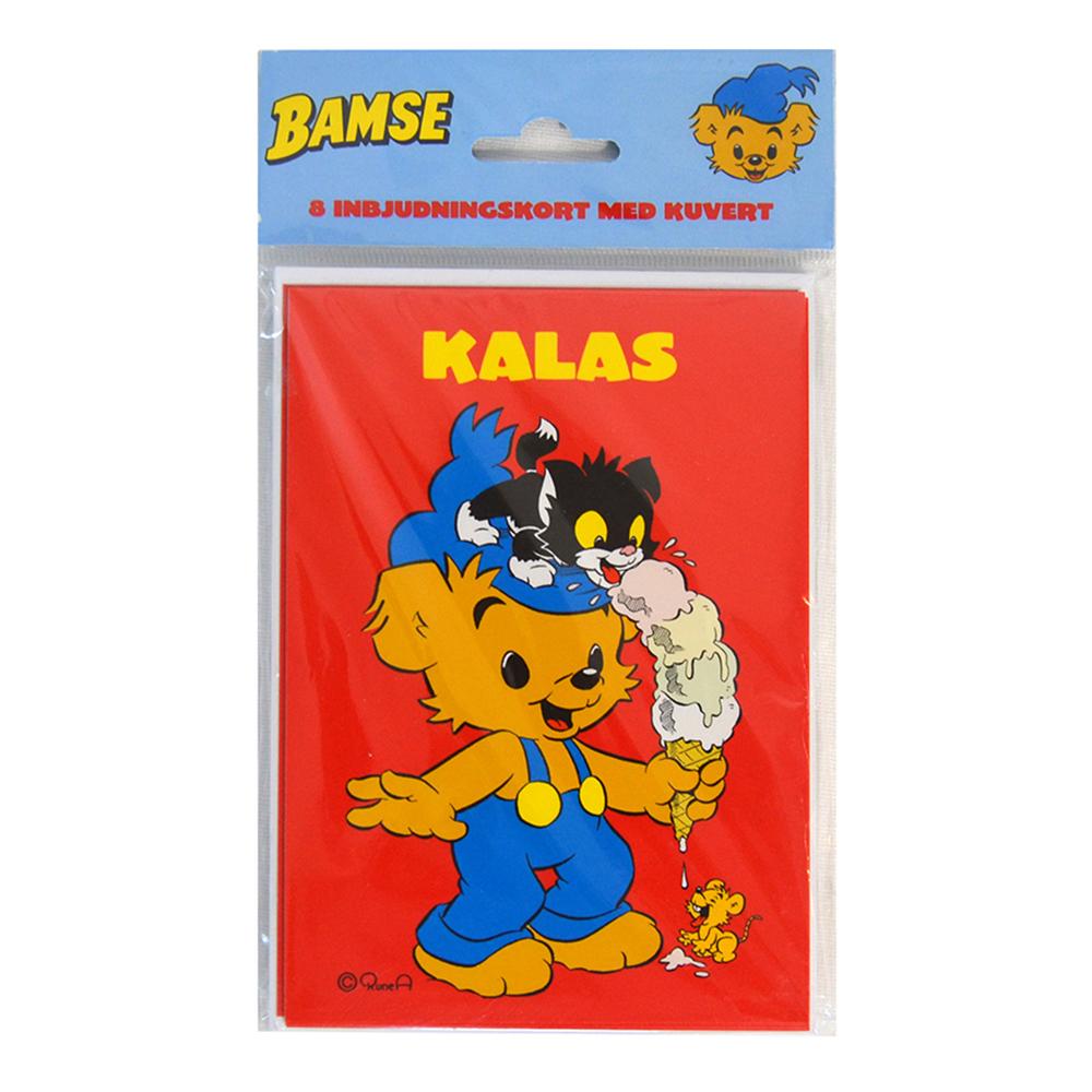 Inbjudningskort Bamse med Kuvert - 8-pack