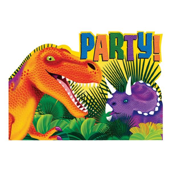 Dinosaurie - Inbjudningskort Dinosaurier - 8-pack