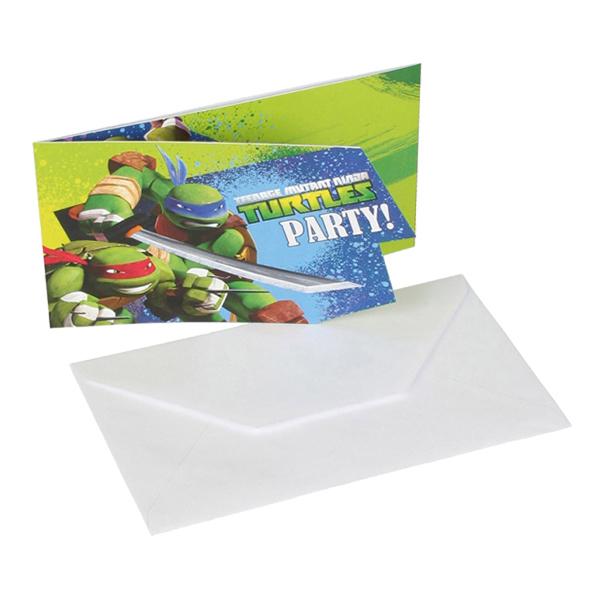 Inbjudningskort Ninja Turtles - 6-pack