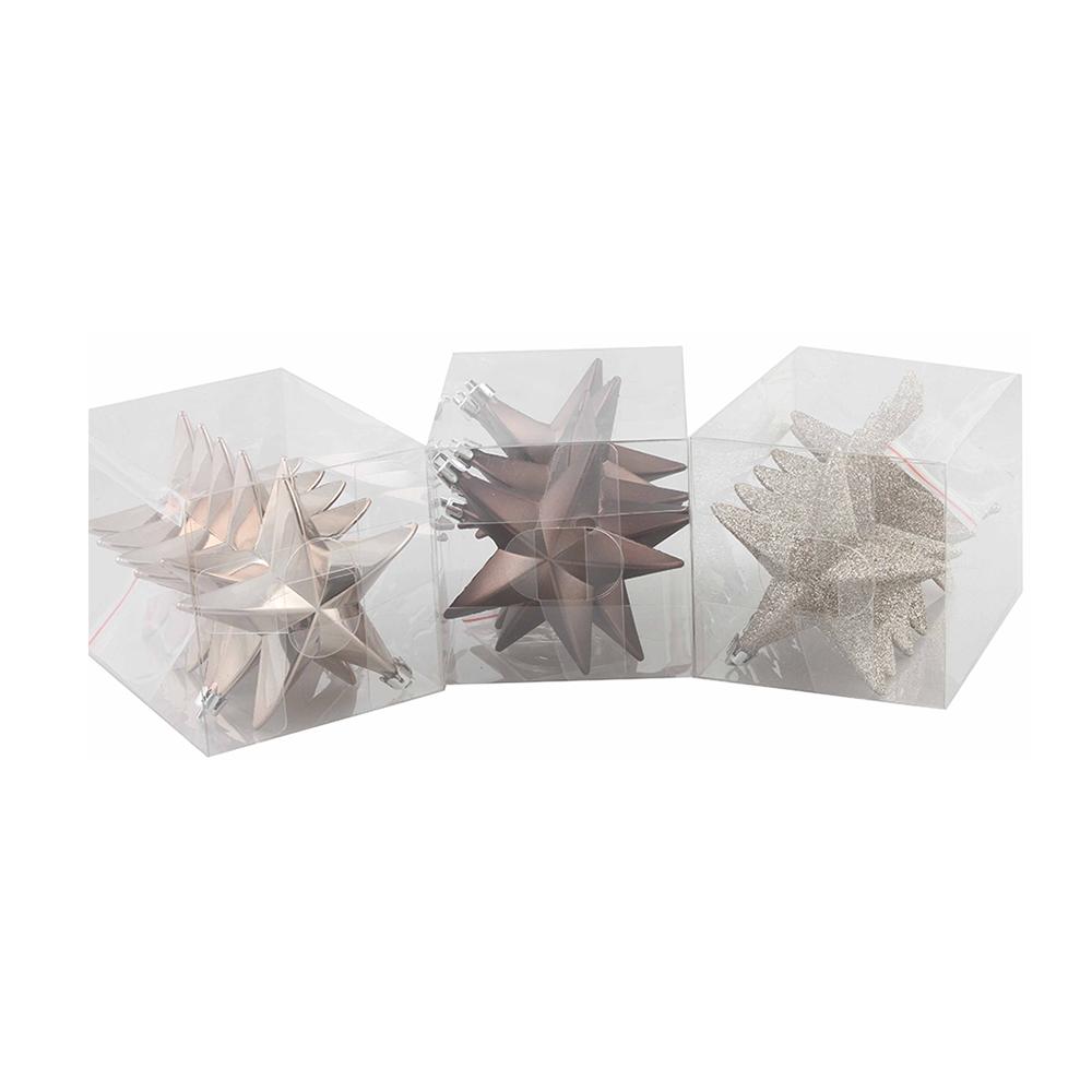 Julgranshänge Stjärna Champagne/Grå - 6-pack