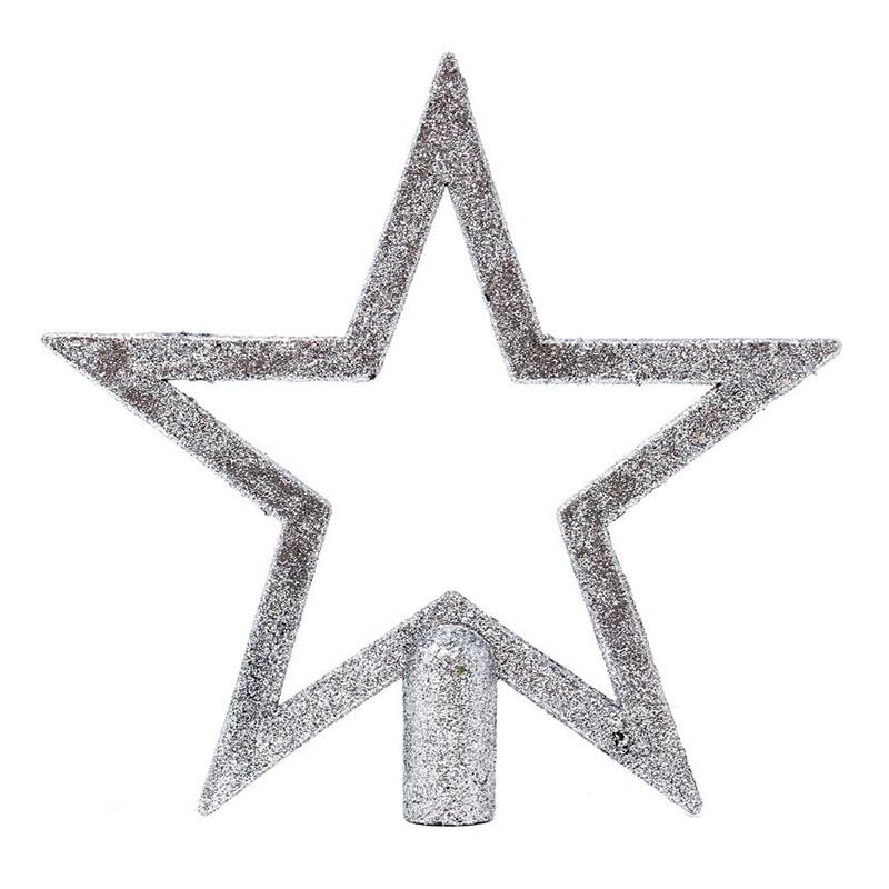 Julgransstjärna Glittrig Silver - 20 cm