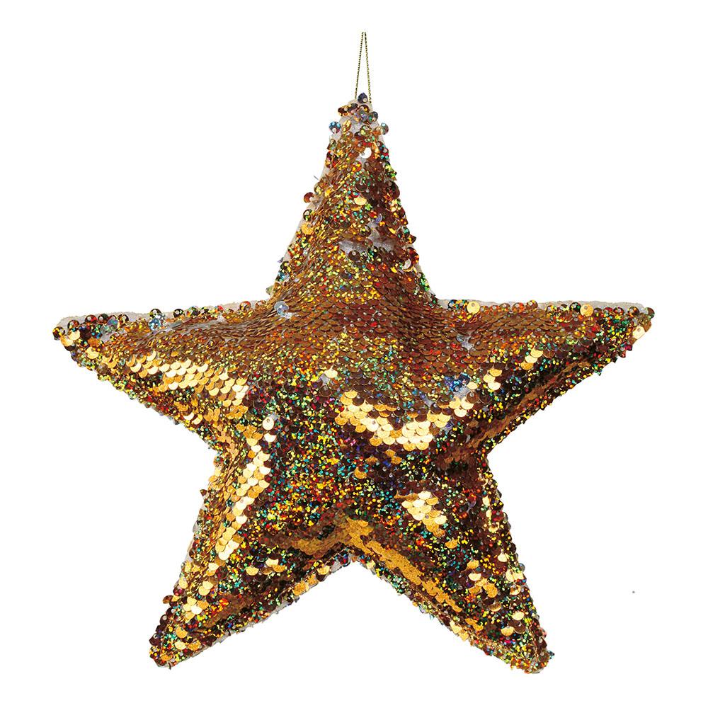 Julhänge Stjärna med Paljetter Guld