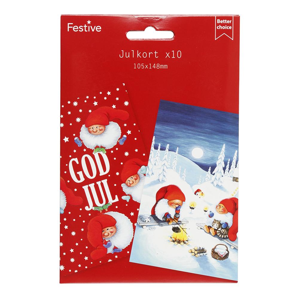 Julkort God Jul - 10-pack | Hem//Teman//Högtider//Jul 2021//Julkort | Partyoutlet