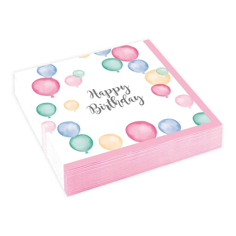 Kaffeservetter Ballonger Happy Birthday Pastell - 20-pack