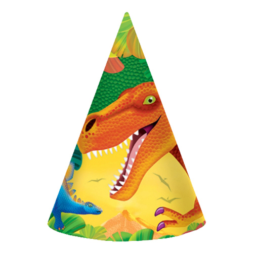 Partyhattar Dinosaurier - 8-pack