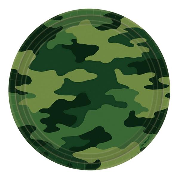 Kamouflage Papperstallrikar - 8-pack