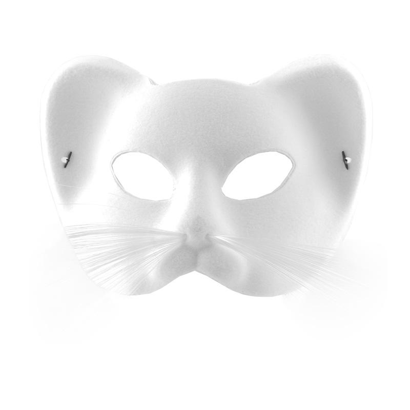 Katt - Katt Sammet Halvmask - Vit