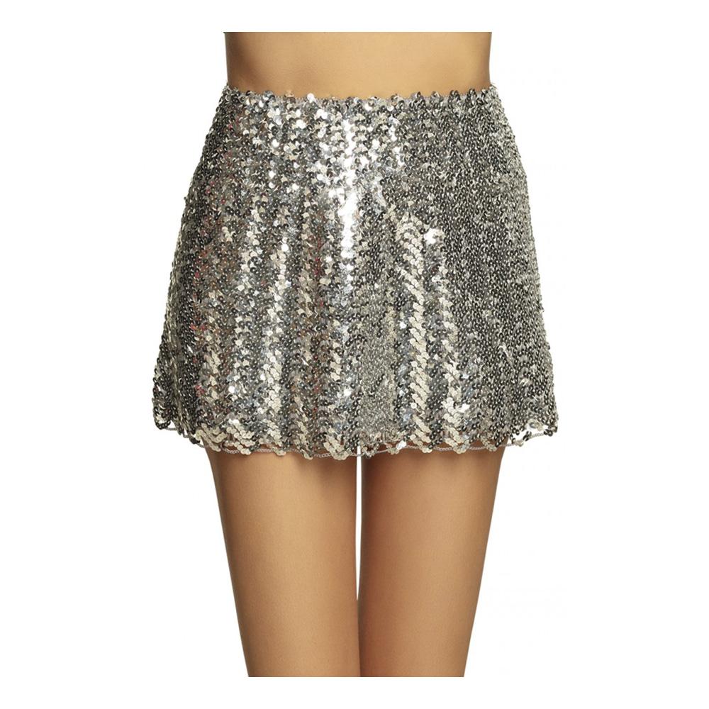 Kjol med Paljetter Silver - One size