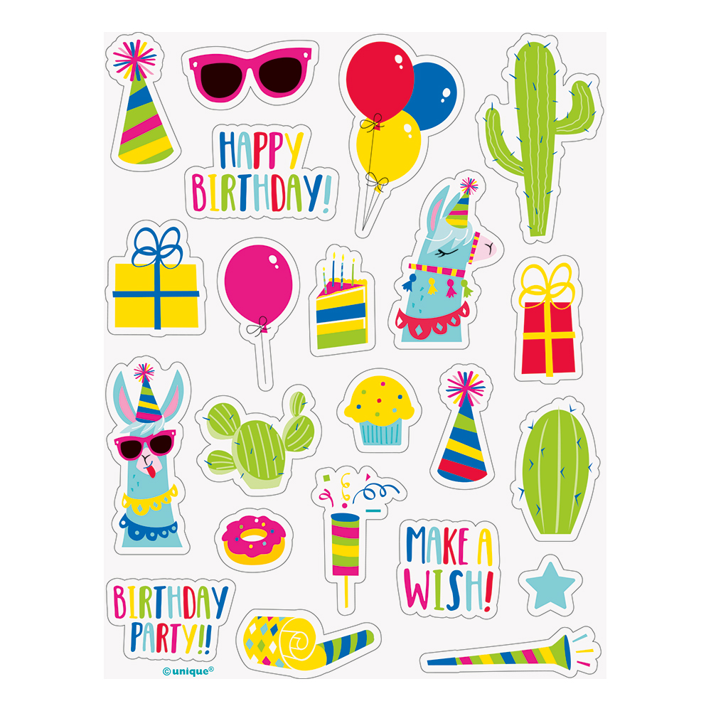 Klistermärken Lama Birthday - 4-pack