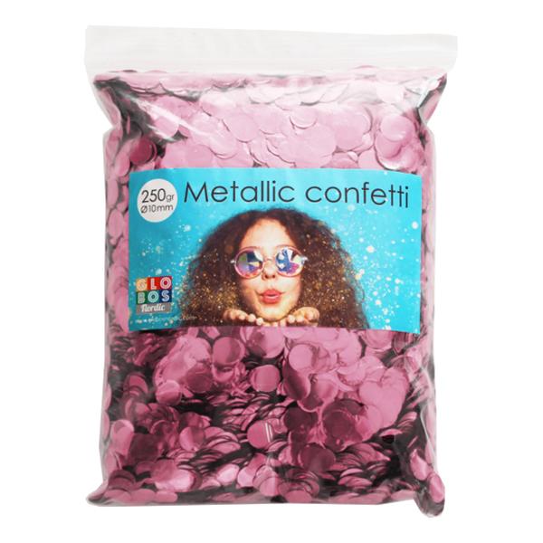 Konfetti Ljusrosa Metallic Runda - 250 gram