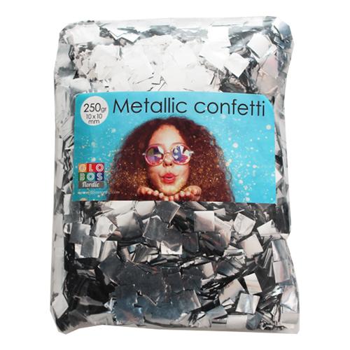 Konfetti Silver Metallic Fyrkantiga - 250 gram