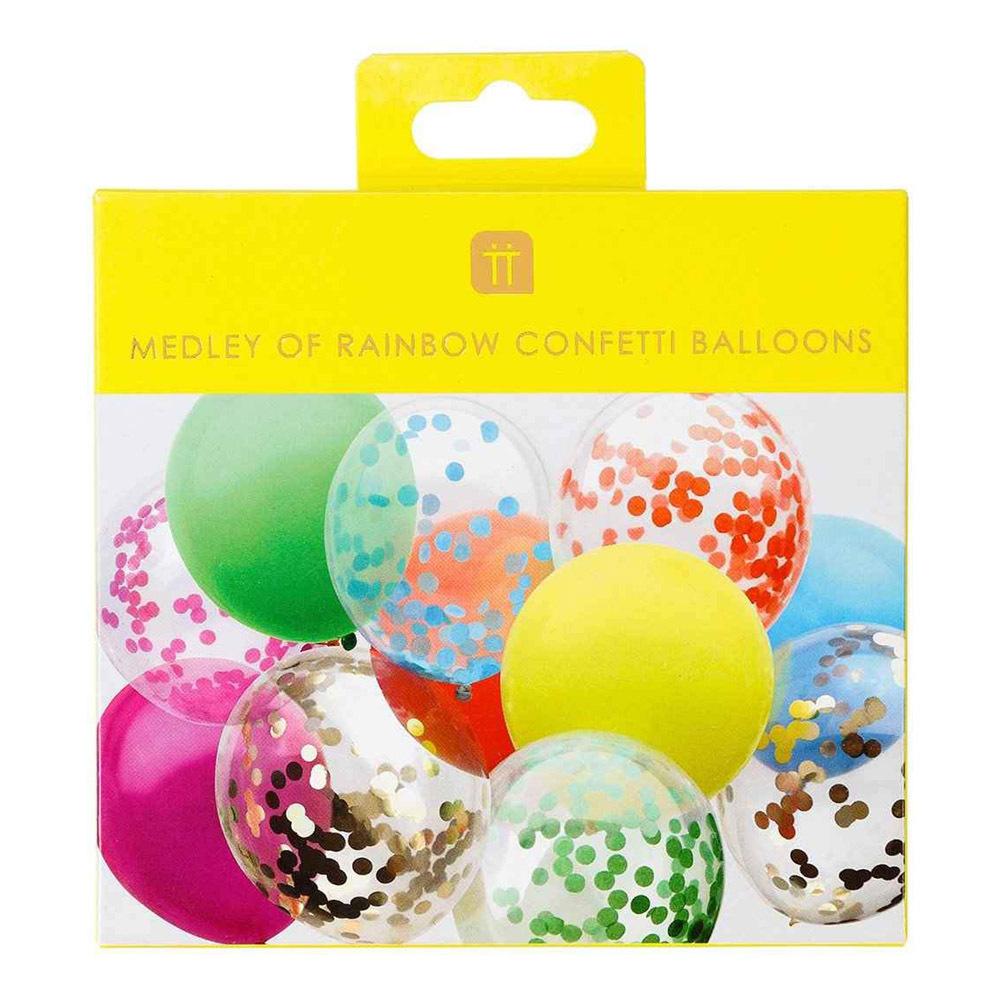 Konfettiballonger Rainbow - 12-pack