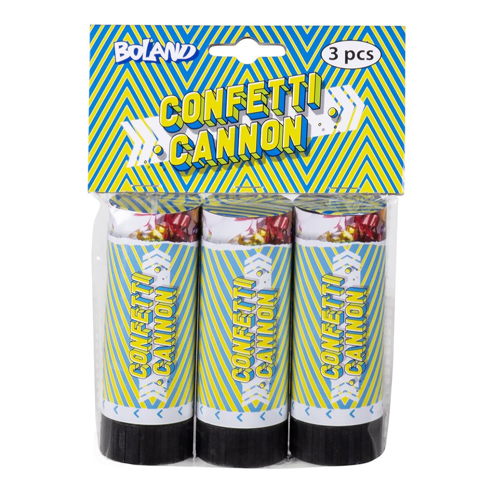 Konfettikanoner Mini Holografiska Regnbågsfärgade - 3-pack