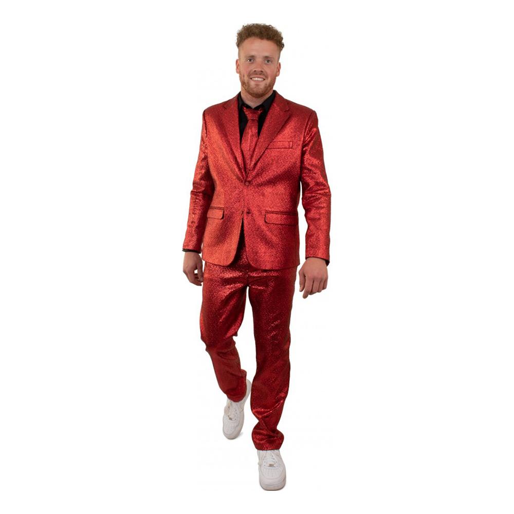 Kostym Röd Metallic Herr - 54
