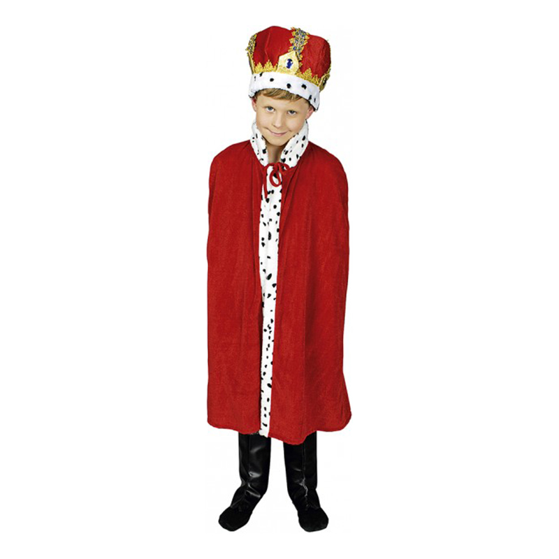 Kungamantel Röd för Barn - One size