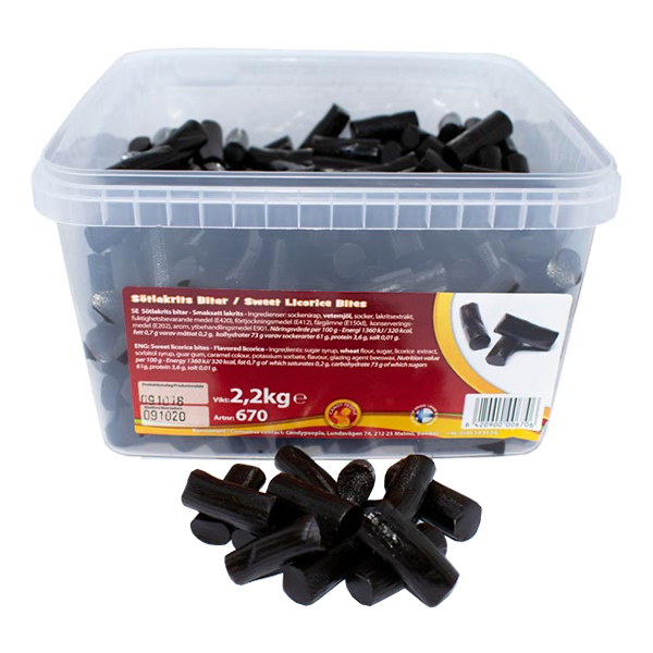 Lakritsbitar Lösvikt i Burk - 2.2 kg