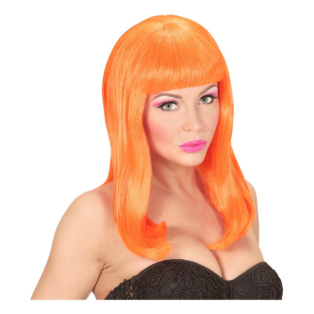 Lång Neon Orange Peruk