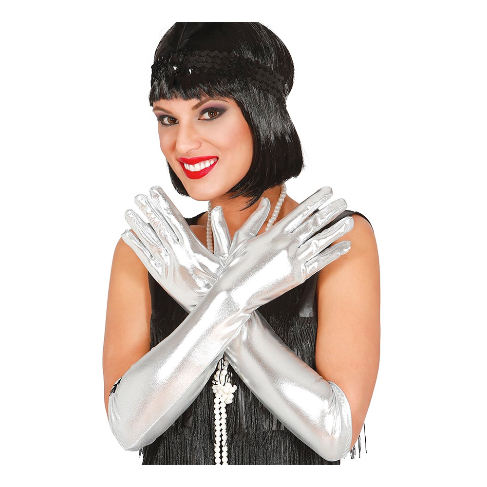 Långa Silverfärgade Handskar - One size
