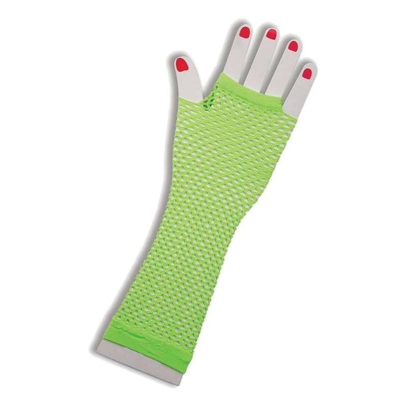 Långa UV Neon Näthandskar - Grön