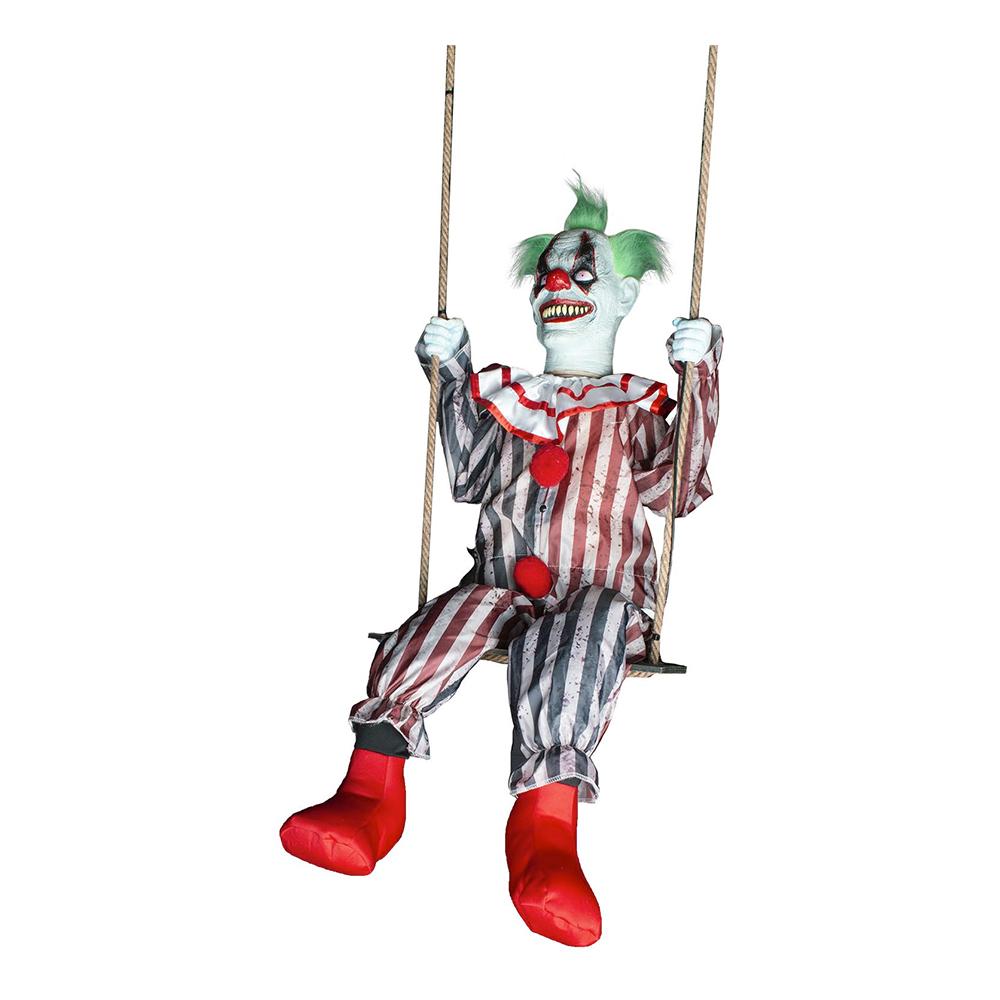 Läskig Clown på Gunga med Ljud, Ljus & Rörelse Prop