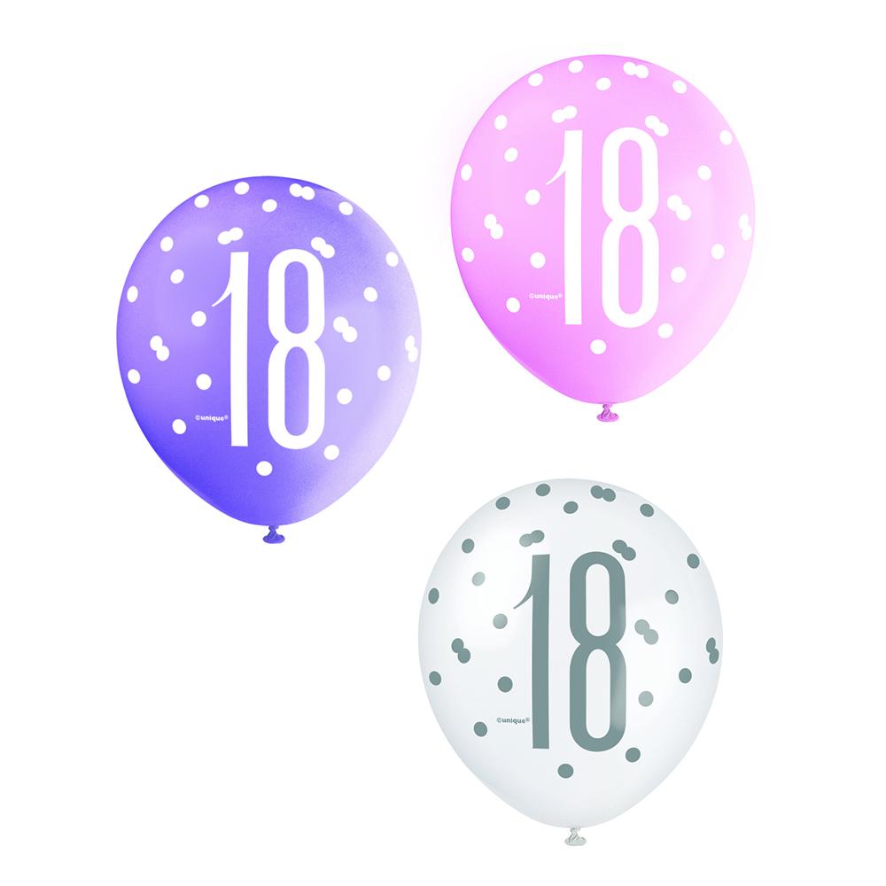 Latexballonger 18 Rosa/Lila/Vit - 6-pack   Hem//Festartiklar//Ballonger//Latexballonger   Partyoutlet