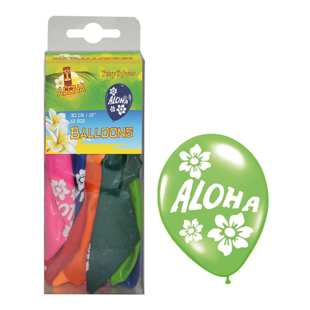 Latexballonger Aloha Flerfärgade - 12-pack