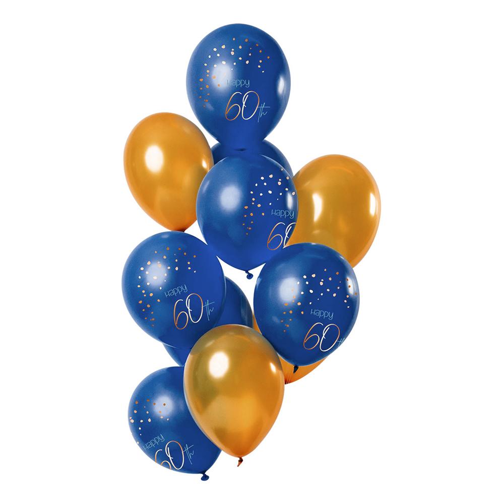 Latexballonger Happy 60th True Blue - 12-pack